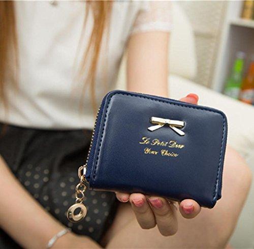 Geldbörsen, Rcool Mode Damen Clutch Geldbörse kurze kleine Tasche PU-Kartenhalter (Schwarz) Dunkelblau