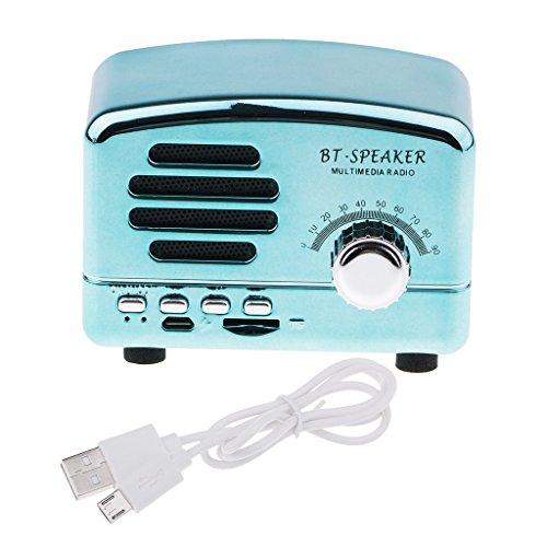 IPOTCH Mini Radio Apoya Tarjeta TF con USB Altavoz Multifuncional Portátil Diseño Vintage Regalo para Amigos - Azul