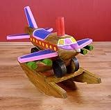 Kinder Schaukflugzeug aus Holz (massiv), Schaukeltier bzw. Schaukelspielzeug, Schaukelpferd, Holzflugzeug