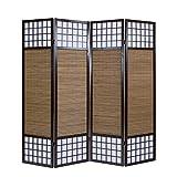 Homestyle4u 4 fach Paravent Sondergröße 2m Höhe Raumteiler - Holz Trennwand Shoji mit Bambus in braun Reispapier weiß