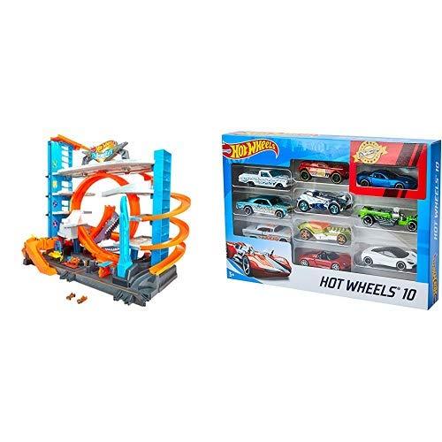 Hot Wheels FTB69 City Ultimate Parkgarage, Garage und Parkhaus mit Hai für +90 Autos &  Wheels 54886 1:64 Die-Cast Auto Geschenkset, je 10 Spielzeugautos, zufällige Auswahl
