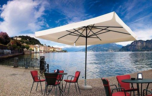 Parasol - Napoli Rectangle 3x4m Acrylique Dralon 350g/m2 Blanc A7 Sans volants + Pied en acier vernis gris - 35kg