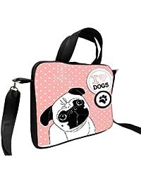 """Snoogg I Amor Pugs Cute Little Pug En Lunares Antecedentes 15""""pulgadas a 15,5pulgadas a 15.6pulgadas portátil funda blanda funda de piel sintética funda de transporte con y con correa para el hombro para MacBook Pro Acer Asus Dell HP Sony Toshiba"""