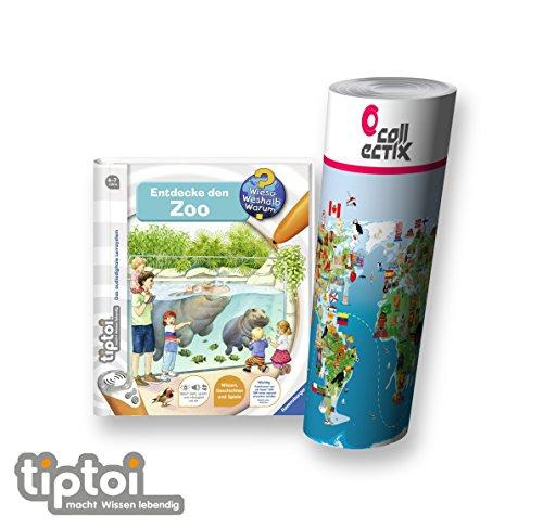 Ravensburger tiptoi  Buch | Entdecke Den Zoo + Kinder Tier-Weltkarte - Länder, Tiere, Kontinente