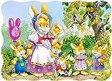 Unbekannt Puzzle 30 Teile - KINDERPUZZLE - Hasen - Kleine Hasenfamilie - Tier Tierfamilie Geschichte - Comic Zeichnung