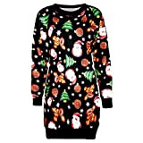 TEBAISE Christmas Pullover Bluse Tops Damen Weihnachten Drucken Langarm Sweatshirt Cute Hemd Mantel Weihnachtspullover Rentier Fashion Pulli warme Elegante T-Shirt