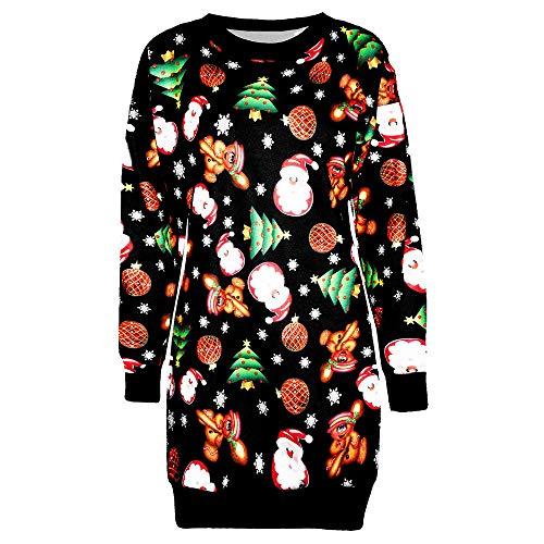 Sasstaids Kleider Weihnachtskleid Damen Festlich Kleider Elegant mit Spitzen Kleider Weihnachtsmotiv Abendkleid Partykleider Cocktailkleid Vintage Faltenrock Rockabilly Kleid -
