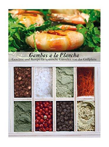 Gambas a la Plancha - 8 Gewürze für spanische Garnelen von der Grillplatte (55g) - in einem schönen Holzkästchen - mit Rezept und Einkaufsliste - Geschenkidee für Feinschmecker - von Feuer & Glas