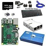 Maker-Sphere Raspberry Pi 3 Model B Quad Core Complete Starter Kit with Mini Wireless Keyboard (Raspberry Pi B + 16GB SD Card + White Close Case + Power Supply + HDMI Cable + 3 pcs Heat Sink)(White)