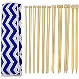 Blulu 20 Piezas 10 Tamaños Agujas de Punto de Bambú Kit de Agujas de Una Sola Punta con Organizador de Bolsa de Agujas de 35 cm (3 mm a 10 mm)