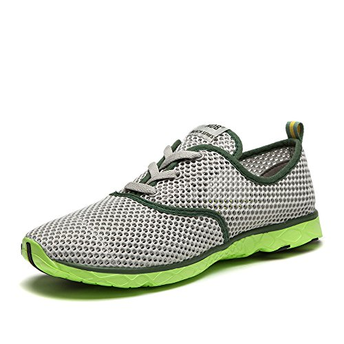 NDB Herren Mesh Lace-Up Schnell Trocknender Aqua Wasser Schuhe Grau (Grey)