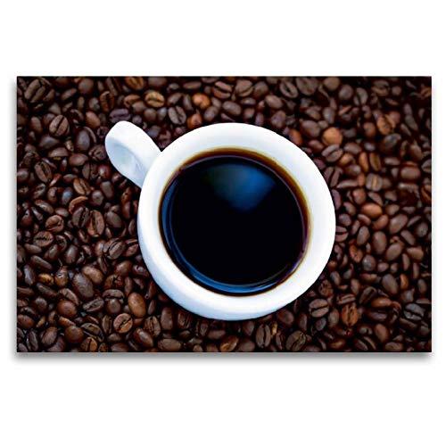 Calvendo Premium Textil-Leinwand 120 cm x 80 cm Quer, Ein Genuss für die Sinne - Feinster Kaffee Bohnen   Wandbild, Bild auf Keilrahmen, Fertigbild auf Kaffebohnen Lifestyle Lifestyle