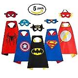 Sinoem Superhelden Kostüme für Kinder Set 5 Umhänge + 5 Masken, Comics Cartoon Heroes Verkleiden Sich Kostüme für Mädchen Jungen - Kapitän Amerika/Superman / Spiderman / Batman / Flash