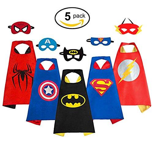 Sinoem Capa de superhéroe 5 Capa y 5 máscaras - Ideas para regalos de Navidad - Kit de valor de Cosplay de diseño de fiesta de cumpleaños de Navidad - Juguetes para Niños y Niñas