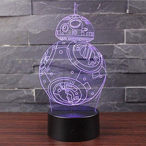 3D Optische Illusions-Lampen NHsunray LED 7 Farben Touch-Schalter Ändern Nachtlicht Für Schlafzimmer Home Decoration Hochzeit Geburtstag Weihnachten Valentine Geschenk Romantische Atmosphäre (BB-8)