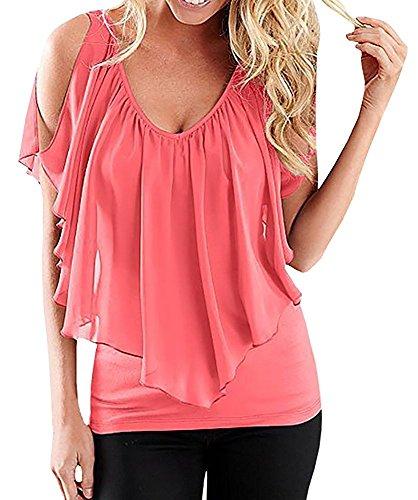 Chemise Femme Mousseline de Soie T-shirt Epaule Nue Blouse Col V Top Manches Courtes Mode Haut Tunique Couleur Unie Eté Casual – Landove Rose