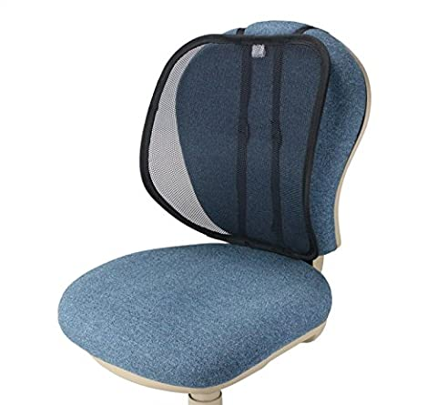 """ObboMed® SM-7400B Extra-Large Adjustable Breathable Lumbar Mesh Support Seat Cushion for Posture Correction, 20"""" x 16"""" x 4""""-8"""", Special Fitting (Vertical or Horizontal), for Car/ Office/ Home (Black)"""