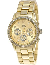 NY London Designer Damenuhr,Damen Strass Uhr in Chronograph Optik,Gold,inkl.Geschenkbox/Uhrenboc