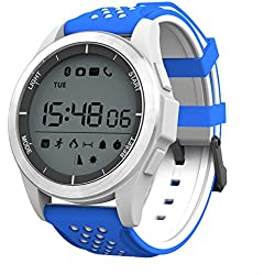 NO.1 F3 Sports Smartwatch Bluetooth 4.0 IP68 cámara remota a prueba de agua recordatorio sedentario Sleep / Call Monitor podómetro (Azul/Blanco)