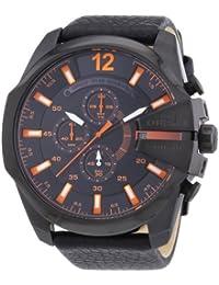 Diesel  Mega Chief - Reloj de cuarzo para hombre, con correa de cuero, color negro
