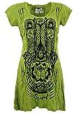 Guru-Shop Sure Long Shirt, Minikleid Fatimas Hand, Damen, Lemon, Baumwolle, Size:M (38), Bedrucktes Shirt Alternative Bekleidung