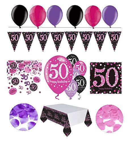 Feste Feiern Geburtstagsdeko 50. Geburtstag | 31 Teile Deko-Set Luftballon Wimpel Girlande Konfetti Serviette Tischdecke Pink Schwarz Violett metallic Party-Set