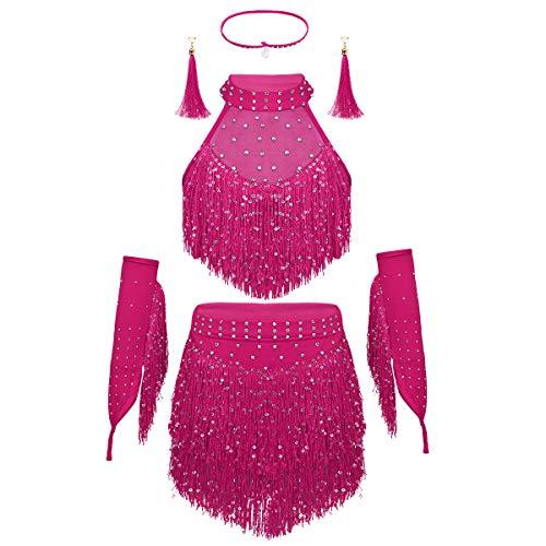 iEFiEL Mädchen Quasten tanzkleid latein Salsa Bauchtanz Outfit Tanzkostüm Crop Top+Rock+Ohrringen+Armstulpen Wettbewerb Pailletten Kleider Rose Rot 122-128