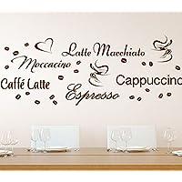 Wandora G006 Küche Latte Macchiato Moccacino Cappuccino Espresso Caffe  Latte Kaffeebohnen Wandaufkleber Wandsticker Braun Kreativset