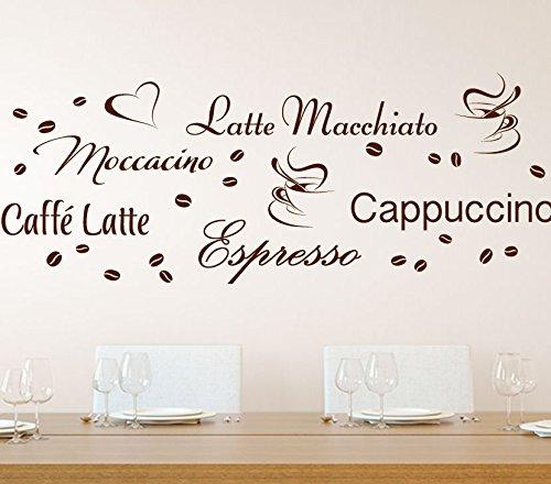 Preisvergleich Produktbild Wandora G006 Küche Latte Macchiato Moccacino Cappuccino Espresso Caffe Latte Kaffeebohnen Wandaufkleber Wandsticker weiß Kreativset