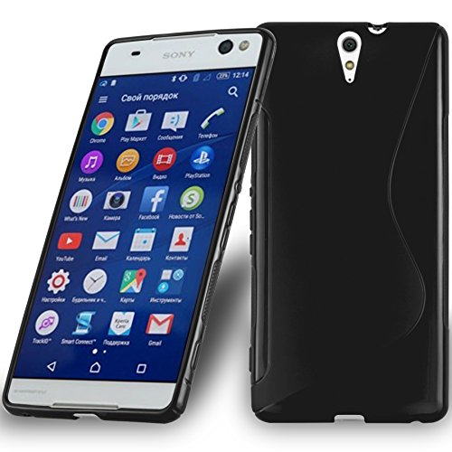 Preisvergleich Produktbild Cadorabo DE-105578 Sony Xperia C5 Ultra Handyhülle aus flexiblem TPU Silikon im S-Line Design Schwarz