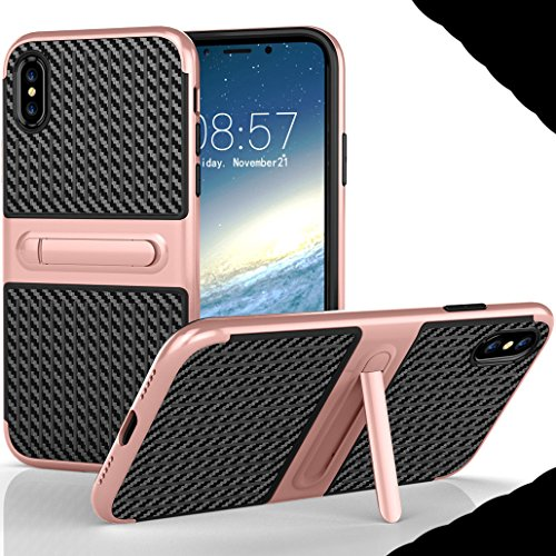iphone X Foldable Stand Case, Very Light Slim Gentlemans Carben Fiber Style, WEIFA 2017 Newest Super Cool Anti-Drop Protection Armor CellPhone Cover Case For iphone X Red !RoseGold