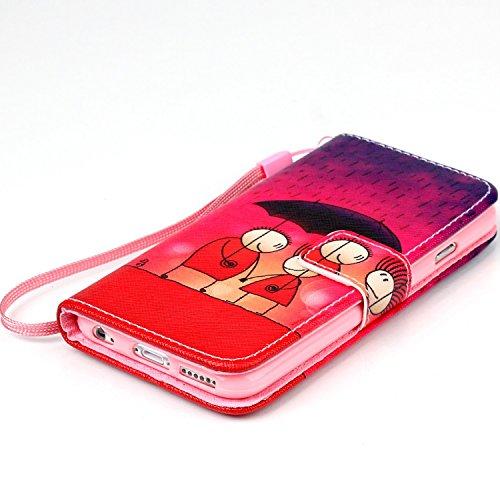 iPhone 6S Hülle, iPhone 6 Hülle, ISAKEN iPhone 6S 6 Hülle Muster, Handy Case Cover Tasche for iPhone 6S / 6, Bunte Retro Muster Druck Flip Cover PU Leder Tasche Case Schutzhülle Hülle Handy Tasche Etu Rote Himmel Regenschirm Liebhaber