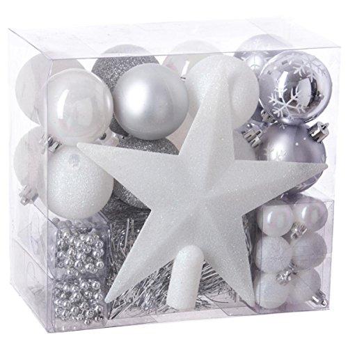 Lot déco Noël - Kit 44 pièces pour décoration sapin : Guirlandes, Boules et Cimier - Thème couleur : Blanc, Parme et Gris Argent