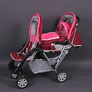 Exclusive Tandem - Twin Pram rose - BambinoWorld Babystyle Suitable from birth - 20kg Ideal for twins or close-in age siblings Independent lie-flat reclining seat units,Compact fold, Includes raincover 3