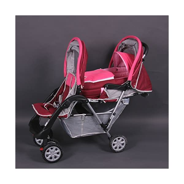 Exclusive Tandem - Twin Pram rose - BambinoWorld Bambino World You are purchasing a high quality and first class Tandem/ Twin Pram from Bambino World, with additional equipment and safety features, ideal for great day trips and every day use. Ideal pram for parents of twins or children with small difference in age. While your larger child explores the environment, your baby sleeps at fresh air. It is suitable from birth (rear seat) and 6 months (front seat) to about 3 years (15 kg). MAIN FEATURES: Easy folding (112 x 56 x 40 cm) ;Size open 110 x 54 x 120 cm ; weight 16,5 kg ;Height handle 107 cm, backrest 40 cm, seat depth 23 cm; wheel diameter 20 cm . EXCLUSIVE ADVANTAGES:Very compact and light frame ;All wheels with springing for a comfortable journey ;Front reflectors for your safety ;Lockable swivel front wheels ;Separate brakes on rear wheels ;Several position lie back adjustable seat :Back seat: sitting and lying position ,Front seat: sitting and resting position ;Seat guarantees good ventilation and comfortable seating ;5-point safety harness ; Age: Front seat: 6-36 months | Rear seat: 0-36 months 1