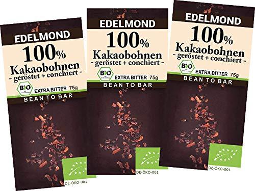 Edelmond 100% geröstete Edel Kakaobohnen. Kein Zusatz von Kakaomasse. Extrem Bitter, da handwerklich gemahlene Kakaobohne. (3 Tafeln)