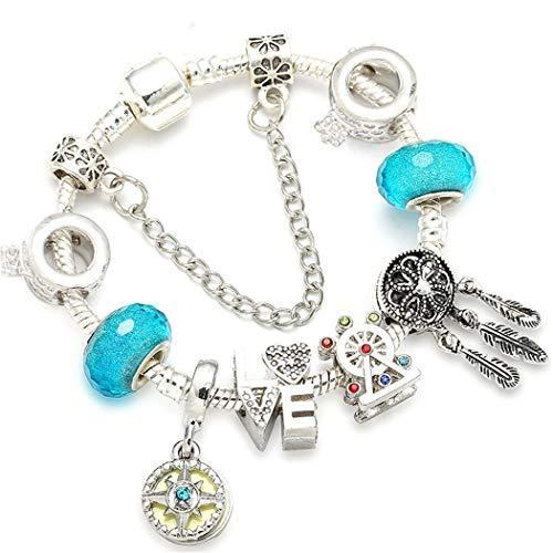 QWERST Bracelet Argento Antico Fascino Bracciali con Ruota Panoramica Ferris Sfera di Cristallo Perline Braccialetti Sottili per Le Donne Gioielli,17Cm
