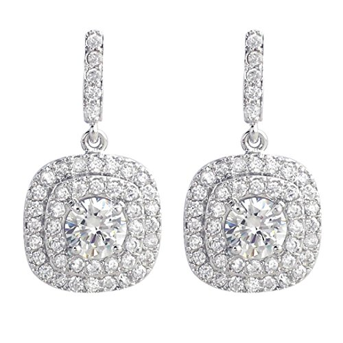SELOVO Wedding Dazzeling Round Cubic Zirconia Clear CZ Drop Earrings Silver Tone
