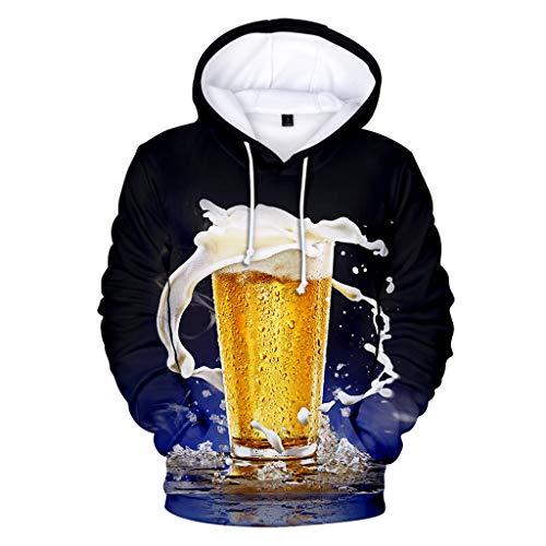 UJUNAOR BennHood Herren Kapuzenpullover Hoodie Pullover Mit Kapuze Und Fleece-Innenseite Herren Beer Festival 3D Druck Langarm Hoodies Sweatershirt Tops