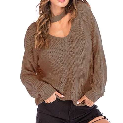 OUICE Femme Sweater Blouse Manches Longues Sexy Couleur Unie Automne Et Hiver Chemisier Pin Up À Manches Lucy Epaules Pull
