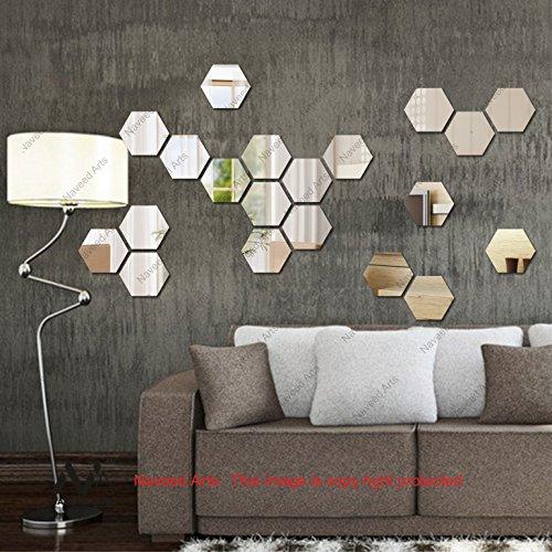 Naveed Arts - Acrylic Hexagon wall decor - 20 Silver mirror JB042M20...