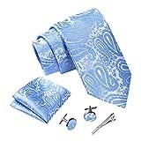 Massi Morino Hommes Designer Cravate - Coffrets cravate avec mouchoir, boutons de manchette et épingle, cravattes de microfibre en différentes couleurs - paisley (Paisley bleu clair)