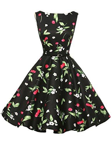 50er vintage retro rockabilly kleid hepburn stil festliches kleid blumenmuster petticoat kleid...