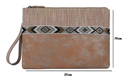 David Jones - Damen Boheme Stil Umhängetasche - Ethno Pochette Clutch Abendtasche - Multicolor Gestreift Perle Strass Beutel Tasche - Leinwand Pailletten Kunstleder Gelbörse Schultertasche - Beige Pink