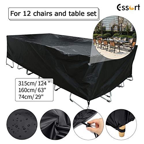 Essort copertura tavolo esterno 315x160x74cm copertura mobili da giardino telo impermeabile antipolvere per arredo poliestere in pvc per divano angolare tavolo sedie nero