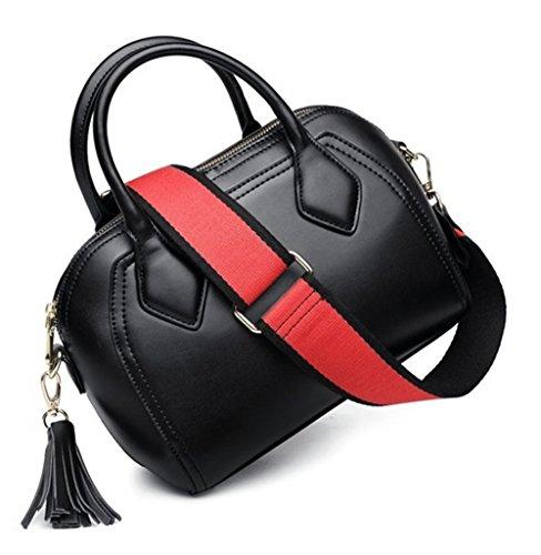Sacs à main pour femme Xinmaoyuan épaule Sac à main en cuir Messenger Sac Tassel Bovine Coquilles Black