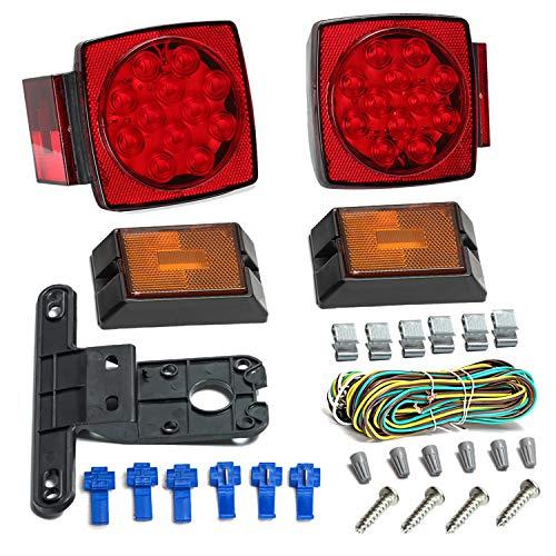 12 V LED Anhänger Rücklicht Kit Schwanz Blinker Kabel Kennzeichenhalter für Trailer Truck RV Marine (Color : -, Size : -)