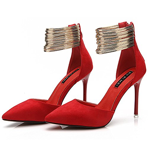 Oasap Women's Pointed Toe Ankle Strap High Stiletto Heels Pumps Red