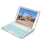 iEGrow Funda de Teclado iPad Air 2 para iPad Air 2 Modelo A1566/A1567, Funda de Teclado Bluetooth Clamshell Delgada con 7 Colores LED Retroiluminada(Plata)