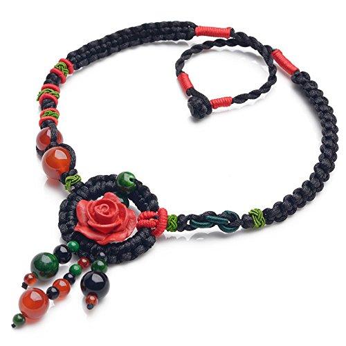 Tibetano Rosa rossa Girocollo Collana con turchese agata perline nappa